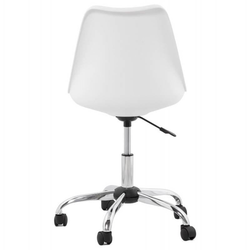 Chaise de bureau design PAUL en polyuréthane et métal chromé (blanc) - image 20714