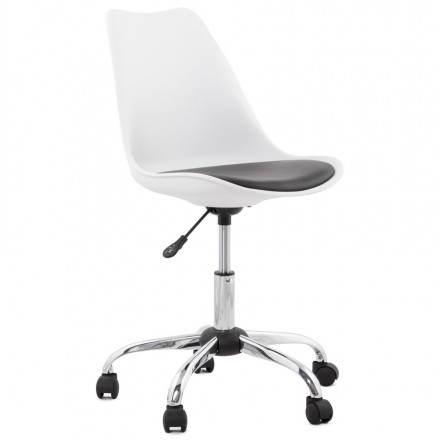 Chaise de bureau design PAUL en polyuréthane et métal chromé (blanc et noir)