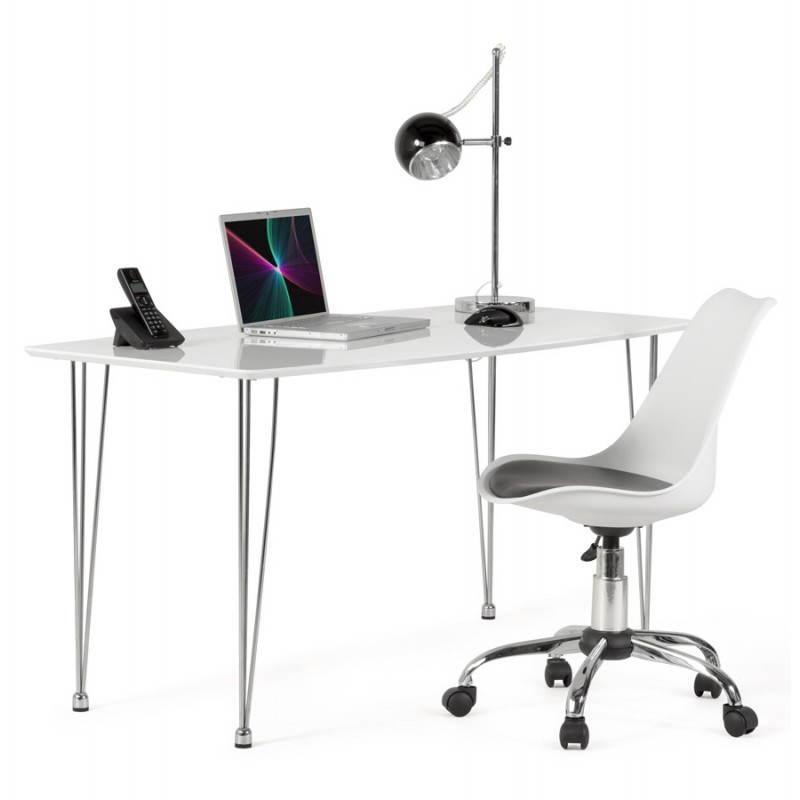 Chaise de bureau design paul en polyur thane et m tal for Bureau blanc et noir
