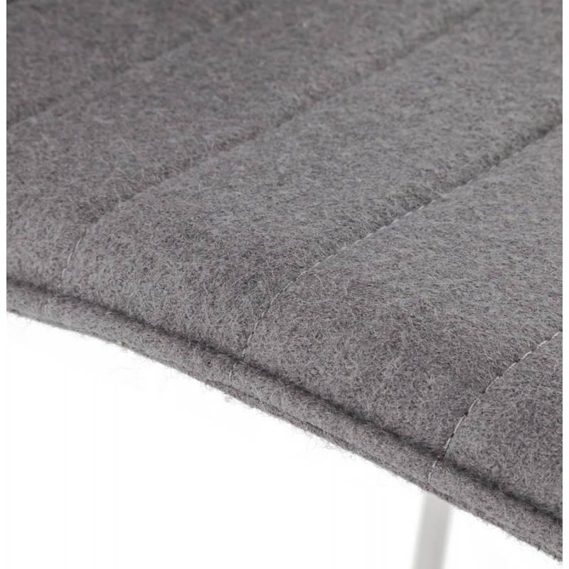 Tabouret de bar matelassé ANAIS tissu et métal chromé (gris foncé) - image 20774