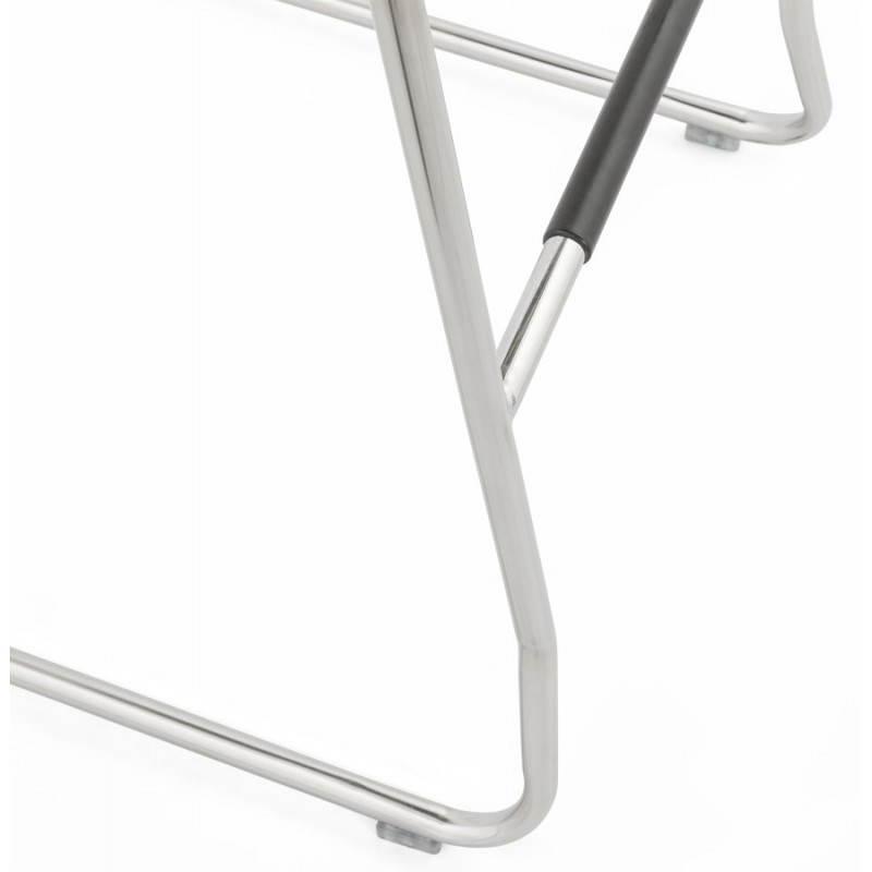Tabouret de bar matelassé ANAIS tissu et métal chromé (gris foncé) - image 20782
