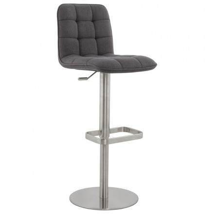 Design barstool MARGO in fabric and brushed metal (dark gray)