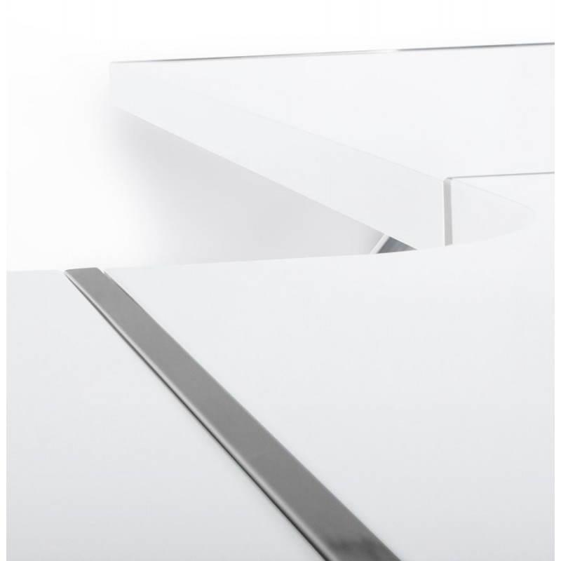 Bureau d'angle design TUTTI en bois laqué et métal chromé (blanc) - image 21006