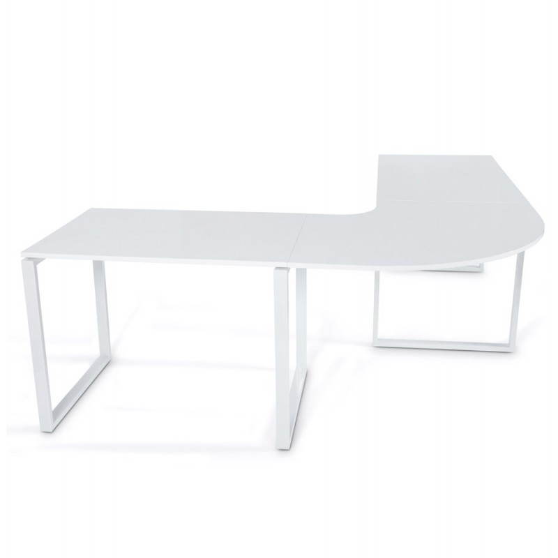 Bureau d 39 angle design fidji en bois laqu et m tal peint for Bureau blanc en bois