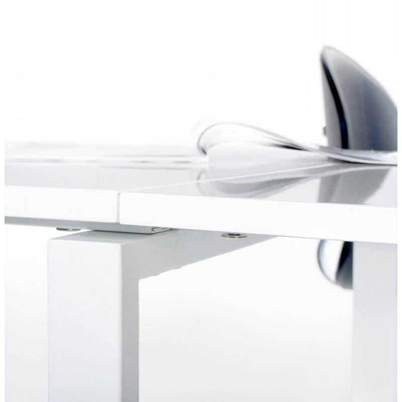 Bureau d 39 angle design fidji en bois laqu et m tal peint for Bureau blanc et bois