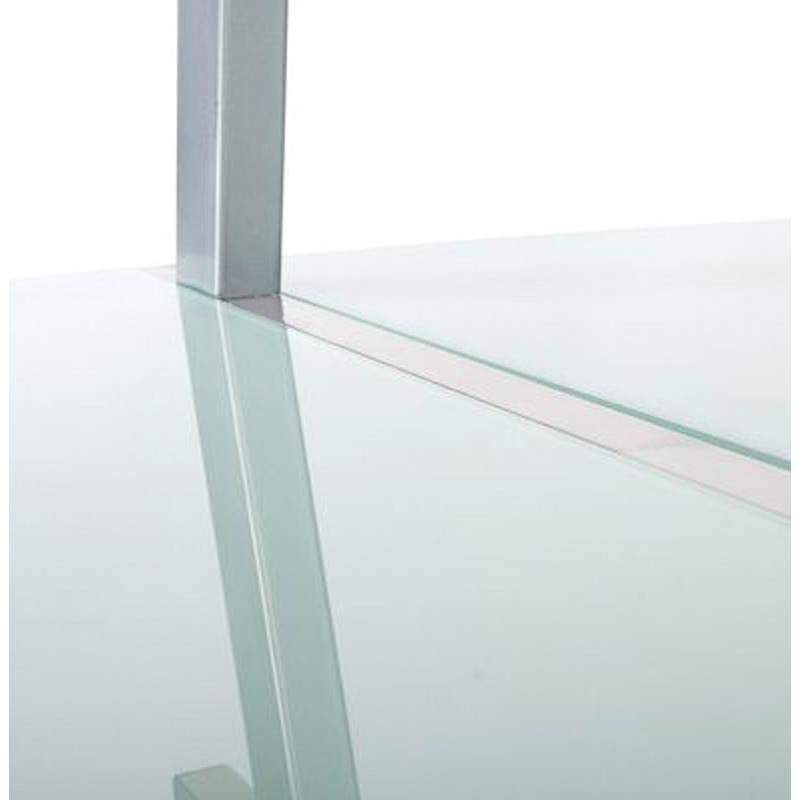 Bureau d'angle design CHILI en acier et verre sécurit teinté (blanc) - image 21043