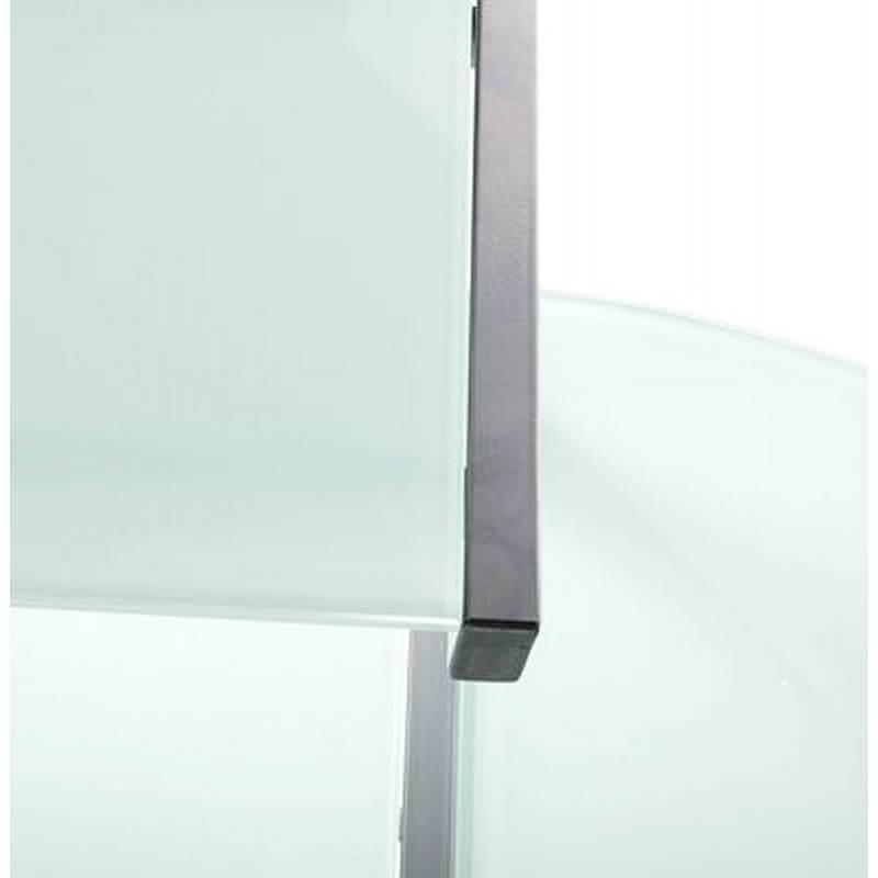 Bureau d'angle design CHILI en acier et verre sécurit teinté (blanc) - image 21044