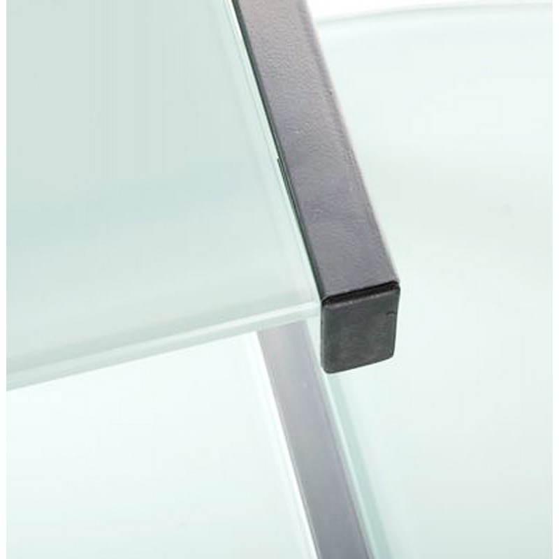 Bureau d'angle design CHILI en acier et verre sécurit teinté (blanc) - image 21045
