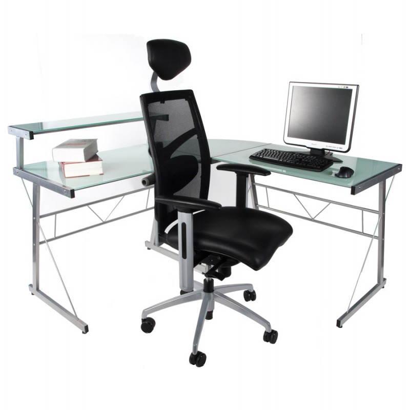 Bureau d'angle design CHILI en acier et verre sécurit teinté (blanc) - image 21048