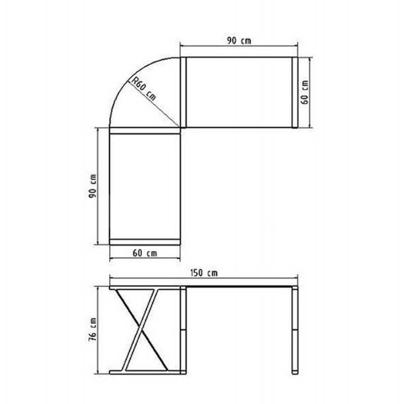 Bureau d'angle design CHILI en acier et verre sécurit teinté (blanc) - image 21050
