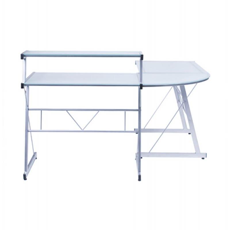 Bureau d'angle design CHILI en acier et verre sécurit teinté (transparent sablé) - image 21053
