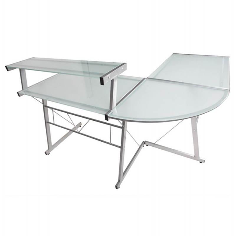 Bureau d'angle design CHILI en acier et verre sécurit teinté (transparent sablé) - image 21054