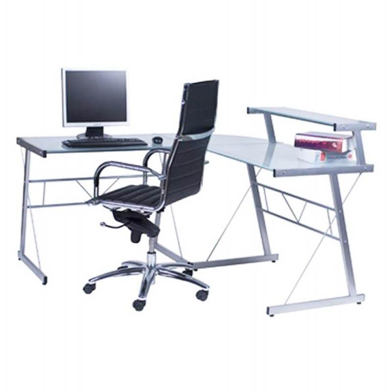Bureau d'angle design CHILI en acier et verre sécurit teinté (transparent sablé) - image 21055