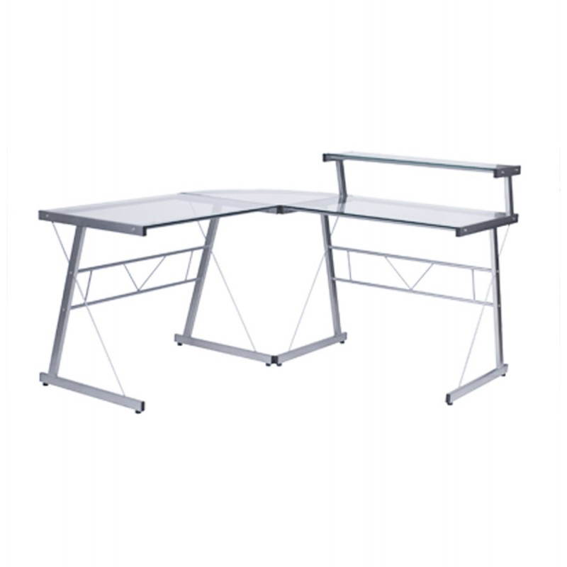 Bureau d'angle design CHILI en acier et verre sécurit teinté (transparent) - image 21060