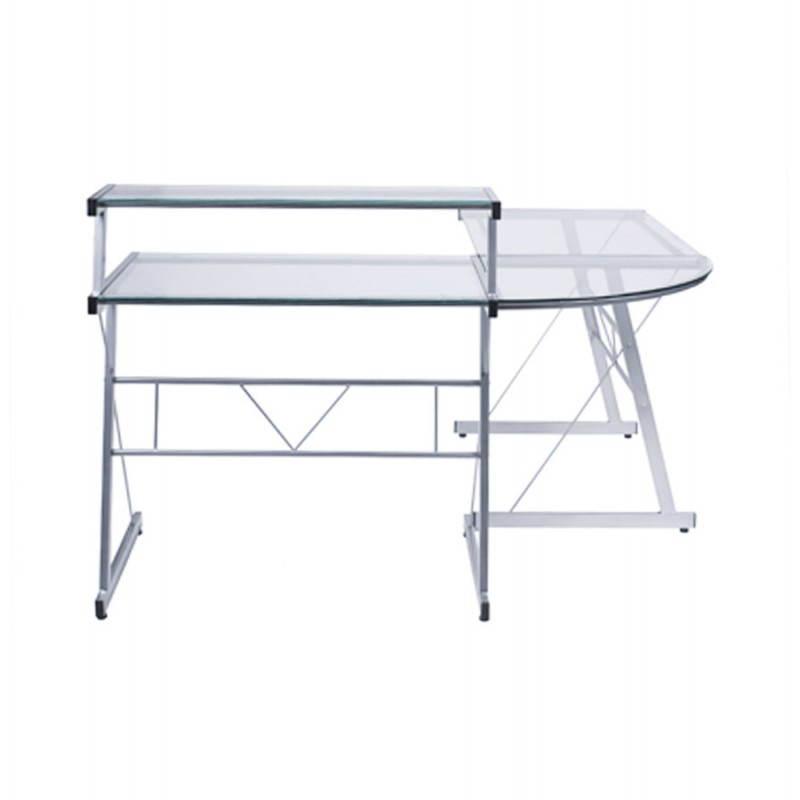 Bureau d'angle design CHILI en acier et verre sécurit teinté (transparent) - image 21062