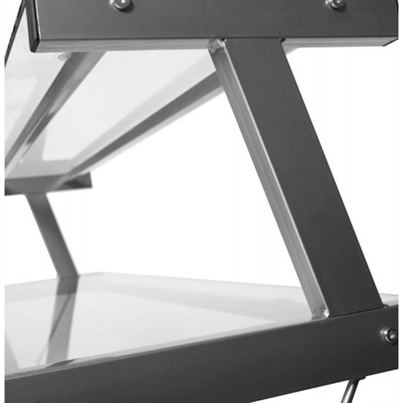 Bureau d'angle design CHILI en acier et verre sécurit teinté (transparent) - image 21066