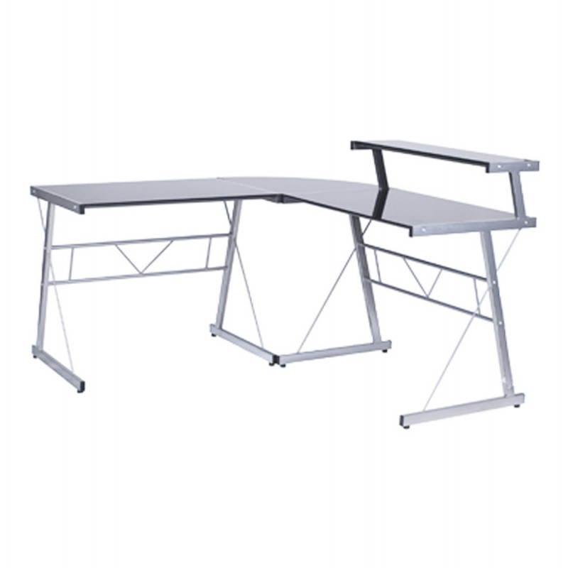 Bureau d'angle design CHILI en acier et verre sécurit teinté (noir)