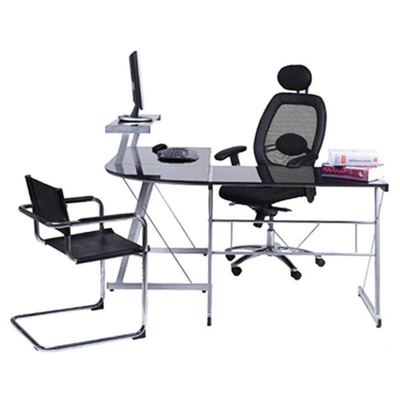 Bureau d'angle design CHILI en acier et verre sécurit teinté (noir) - image 21078
