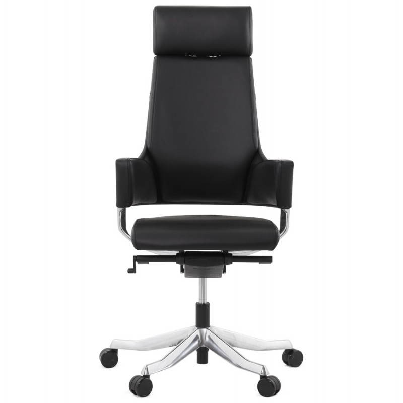 Ergonomic design office CUBA (black) leather armchair - image 21081
