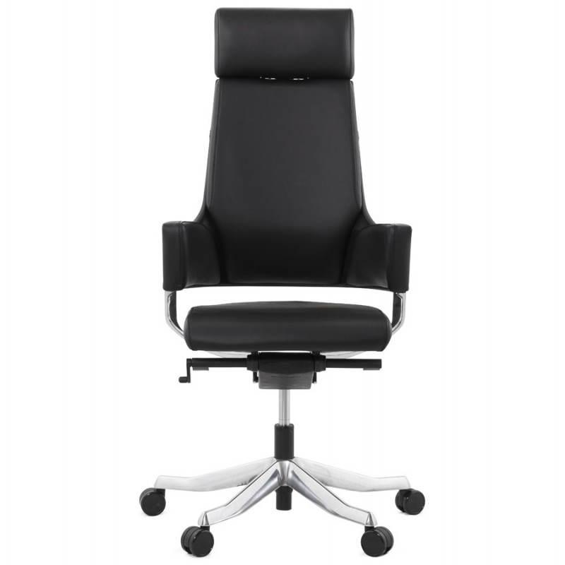 Fauteuil de bureau design ergonomique CUBA en cuir (noir) - image 21081