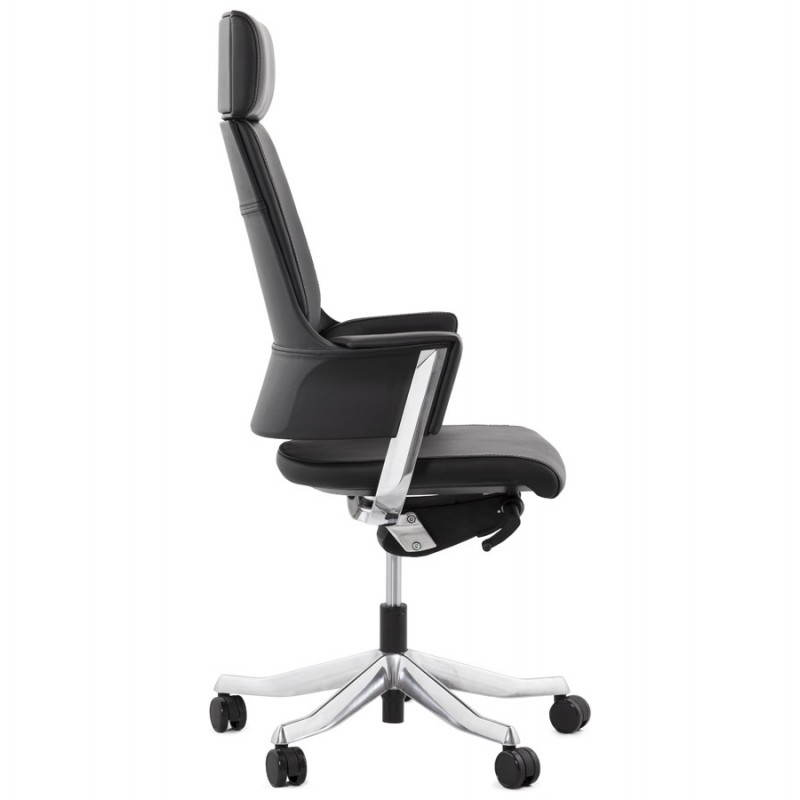 Fauteuil de bureau design ergonomique CUBA en cuir (noir) - image 21082