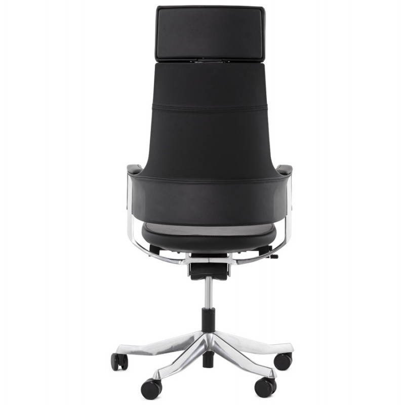 Fauteuil de bureau design ergonomique CUBA en cuir (noir) - image 21084