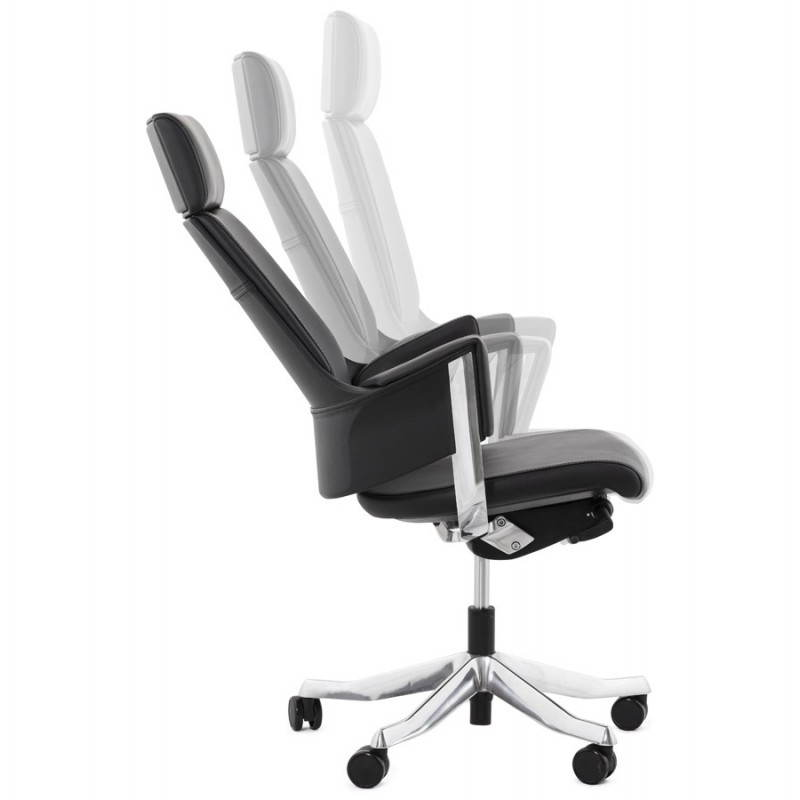 Fauteuil de bureau design ergonomique CUBA en cuir (noir) - image 21087