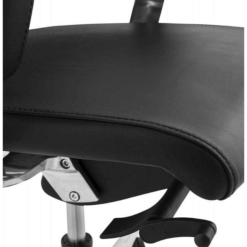 Ergonomic design office CUBA (black) leather armchair - image 21093