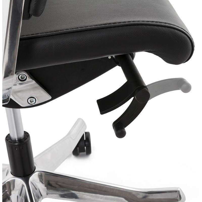 Fauteuil de bureau design ergonomique CUBA en cuir (noir) - image 21095