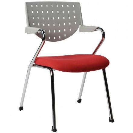 Chaise de bureau design BERMUDES en tissu (rouge et gris)