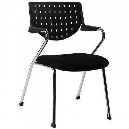 Chaise de bureau design BERMUDES en tissu (noir)