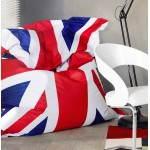 Puff rectangular gigante MILLOT UK en textiles (azul, blanco y rojo)