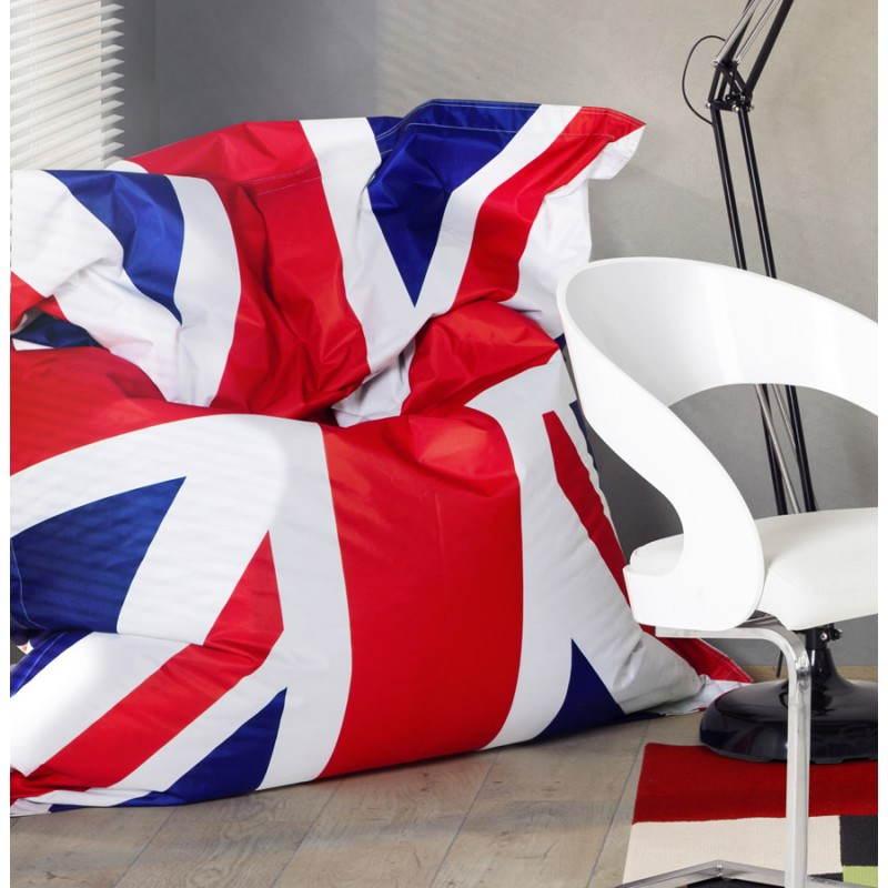 Pouf rectangulaire géant MILLOT UK en textile (bleu, blanc et rouge) - image 21207