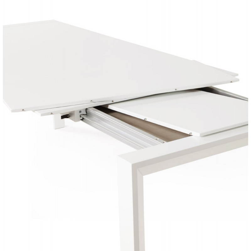 Design table with 2 extensions MACY (white) painted wood - image 21302