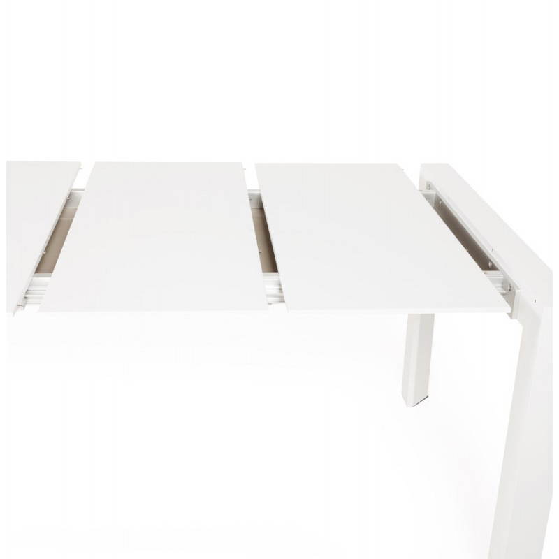 Design table with 2 extensions MACY (white) painted wood - image 21303
