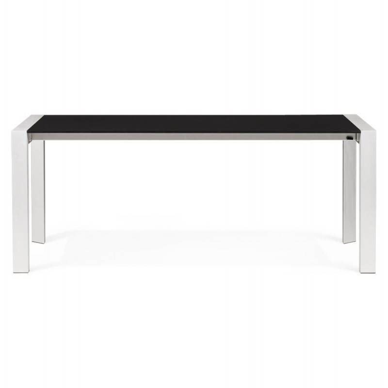 Design table with 2 extensions macy wooden painted black - Table bois rallonges ...