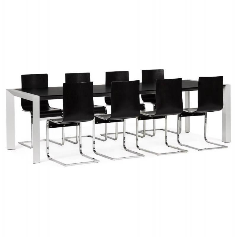 Table design avec 2 rallonges MACY en bois peint (noir) - image 21331