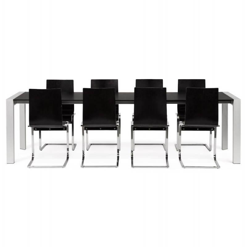 Table design avec 2 rallonges MACY en bois peint (noir) - image 21332