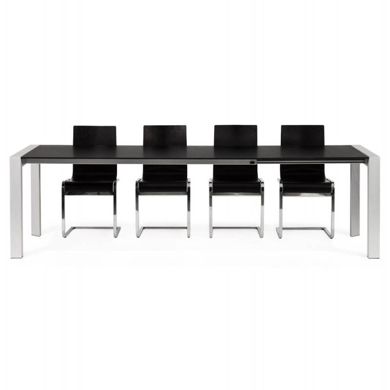 Table design avec 2 rallonges MACY en bois peint (noir) - image 21333