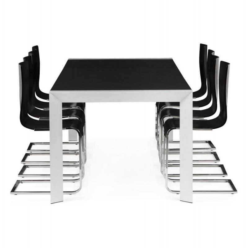 Table design avec 2 rallonges MACY en bois peint (noir) - image 21334