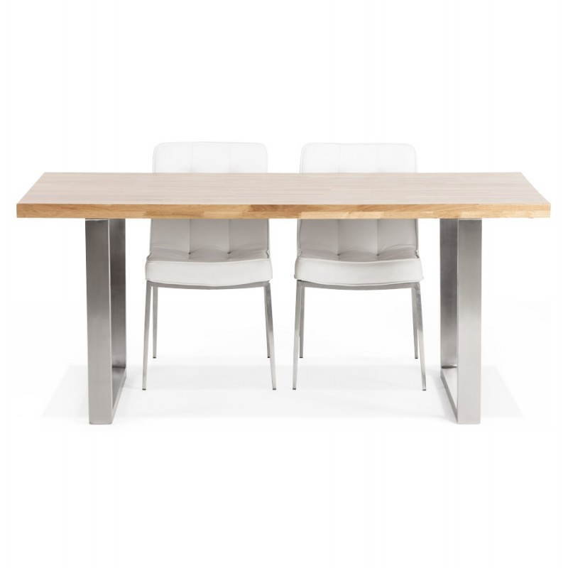 Table en chene moderne trendy table pied metal blanc with for Table chene moderne