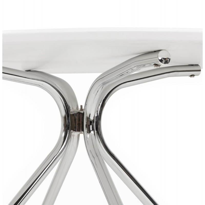Table moderne ronde MINOU en bois peint et métal (Ø 100 cm) (blanc) - image 21379