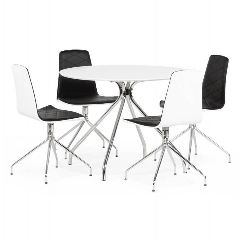 Table moderne ronde MINOU en bois peint et métal (Ø 100 cm) (blanc) - image 21385
