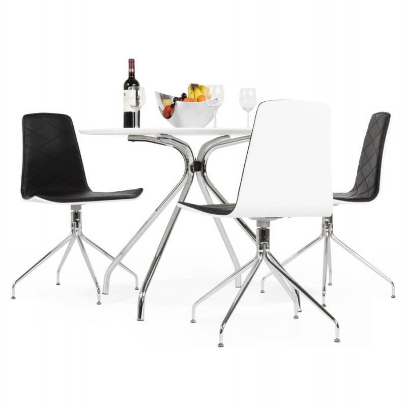 Table moderne ronde MINOU en bois peint et métal (Ø 100 cm) (blanc) - image 21387