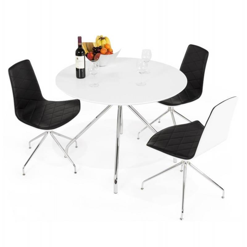 Table moderne ronde MINOU en bois peint et métal (Ø 100 cm) (blanc) - image 21388