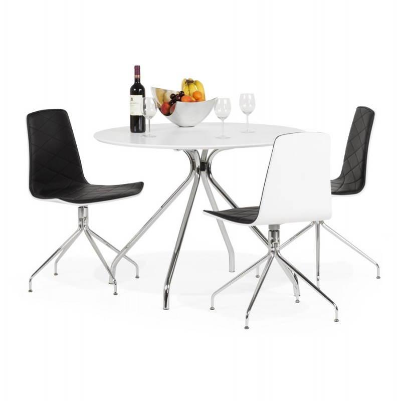 Table moderne ronde MINOU en bois peint et métal (Ø 100 cm) (blanc) - image 21389