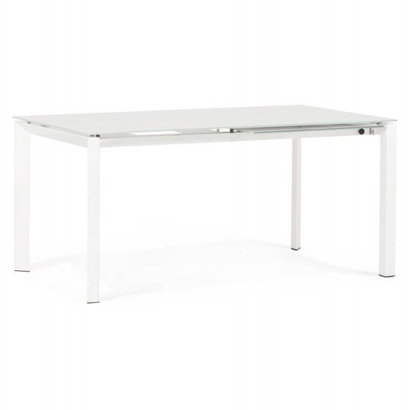 Table design rectangulaire avec rallonge JEANNE en verre et métal (160/230cmX90cmX75cm) (blanc) - image 21393