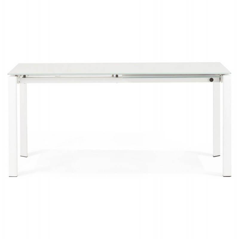Table design rectangulaire avec rallonge JEANNE en verre et métal (160/230cmX90cmX75cm) (blanc) - image 21394