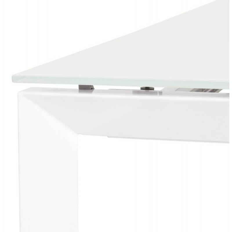 Table design rectangulaire avec rallonge JEANNE en verre et métal (160/230cmX90cmX75cm) (blanc) - image 21398