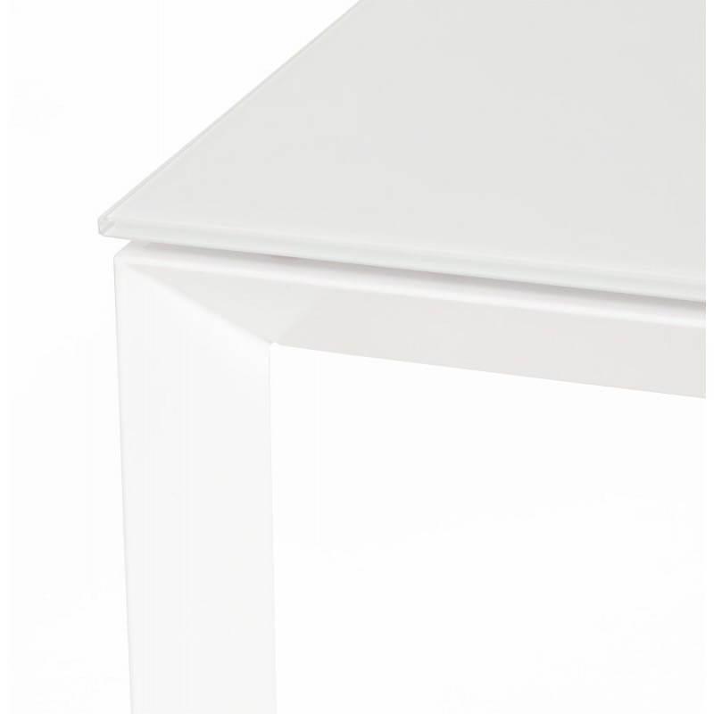 Table design rectangulaire avec rallonge JEANNE en verre et métal (160/230cmX90cmX75cm) (blanc) - image 21399